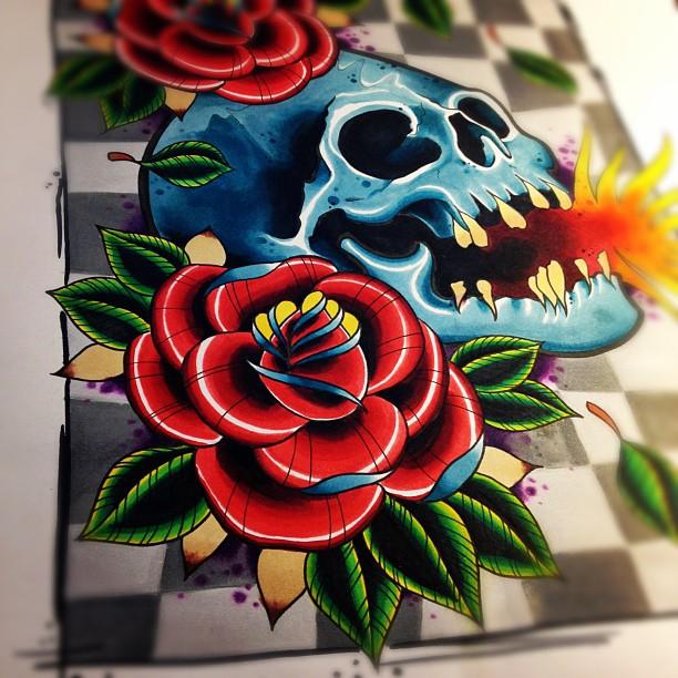 Skull roses paint trade by jerrrroen