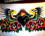 Heart chestpiece with wings roses