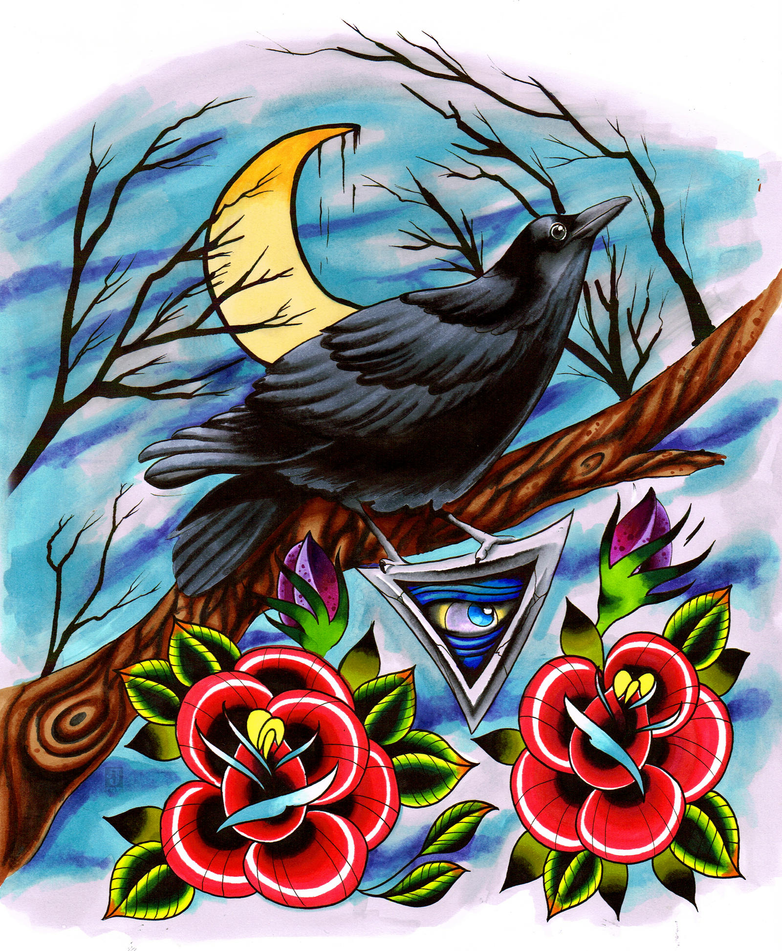 New school tattoo design - Raven Tattoo Design By Jerrrroen Raven Tattoo Design By Jerrrroen