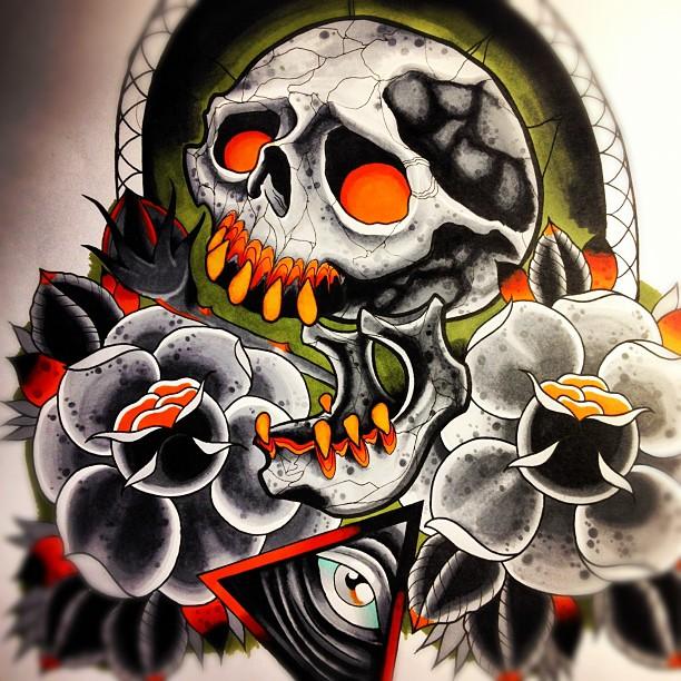 skull roses allseeing eye by jerrrroen