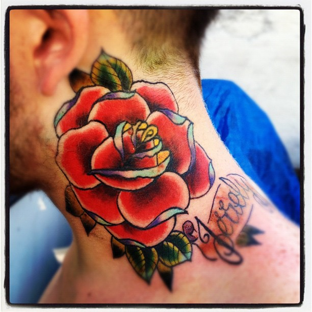rose neck tattoo II by jerrrroen