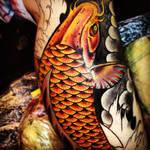 Koi tattoo close up in progress