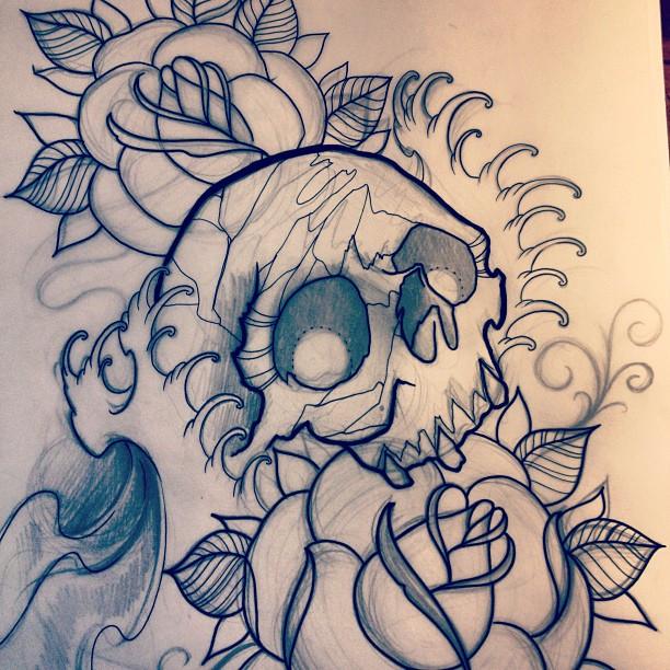 skull water roses by jerrrroen
