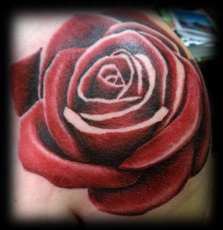 realistic rose tattoo by jerrrroen