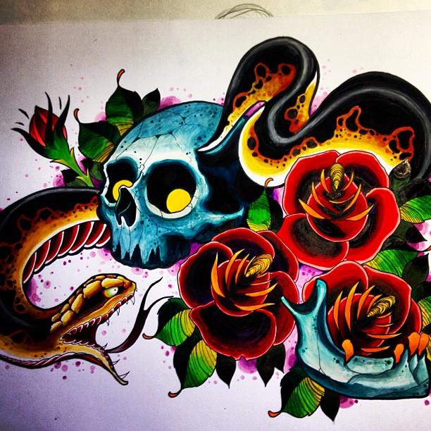 641 Free Hd I Flash Tattoo Design 2012: Skull Snake Tattoo Design By Jerrrroen On DeviantArt