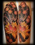 Japanese flower tattoo leg