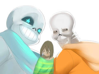 [UNDERTALE] The Skelebros and the fallen human by Naumimi