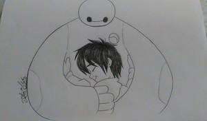 Baymax and Hiro hug