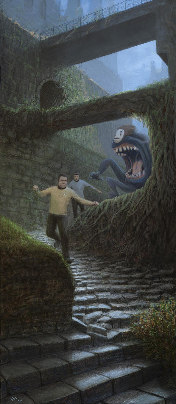 No-Face Chasing Kirk And Spock by digorydoo
