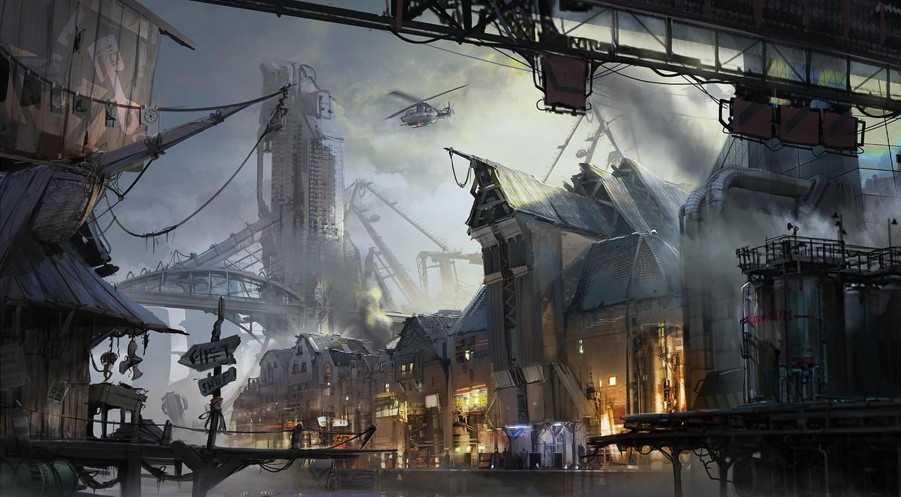 Créez vos villes/cités ! Cyberpunk_port_town_by_ptitvinc-d8orfex