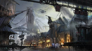 cyberpunk port town