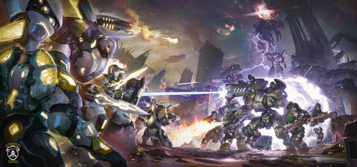 Warcaster Battle Scene