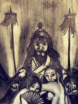 WATCH YOUR STEPPE! (chengis khan portrait sketch)