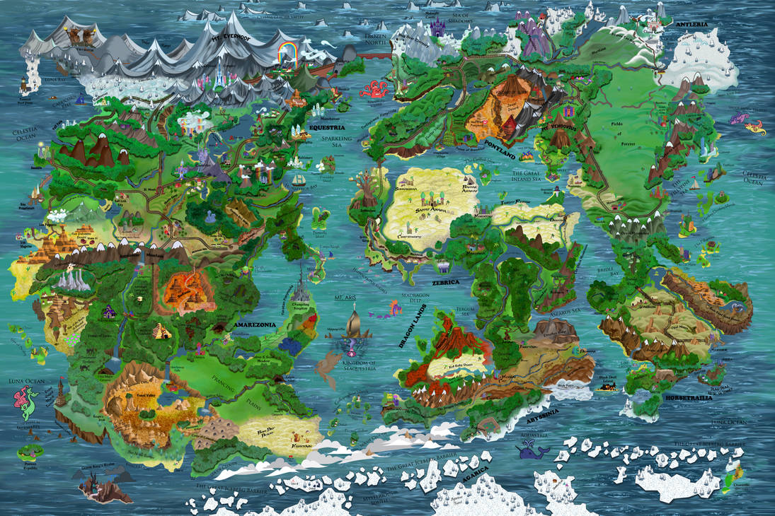 Mlp Equestria Map Map of Equestria And Beyond! by KeenKris on DeviantArt