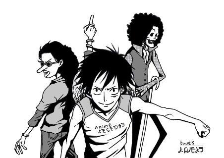 Luffy , Usopp and Brook - Draw
