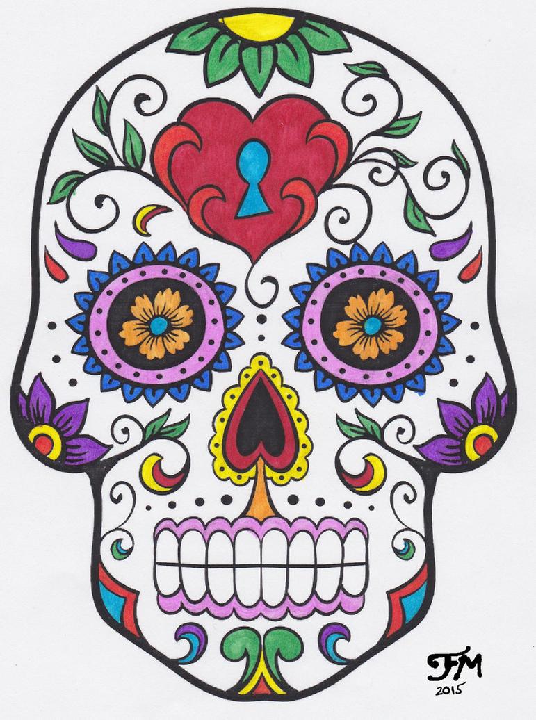 Dia De Los Muertos Calavera Sugar Skull Color By Faylinameir On Deviantart
