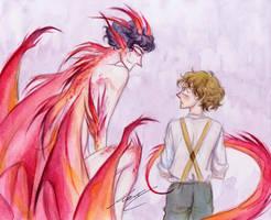 Bilbo and Smaug by monyta