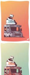 Wrecked ice cream truck by Bogul3