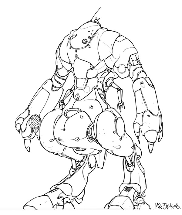 Line Art Robot : Robot line by mr jack on deviantart