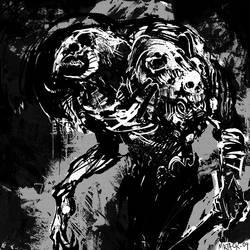 Demon and Skulls by Mr--Jack
