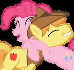 Pinkie Pie hugging Braeburn