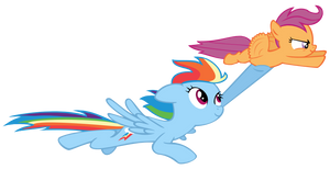 Rainbowdash and Scootaloo Flying Vector