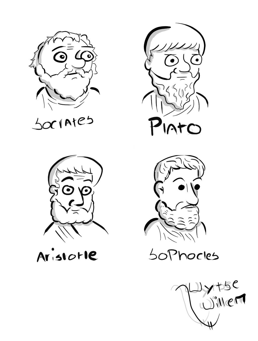 Socrates, Plato, Aristotle and Sophocles. by wytsewillem ...