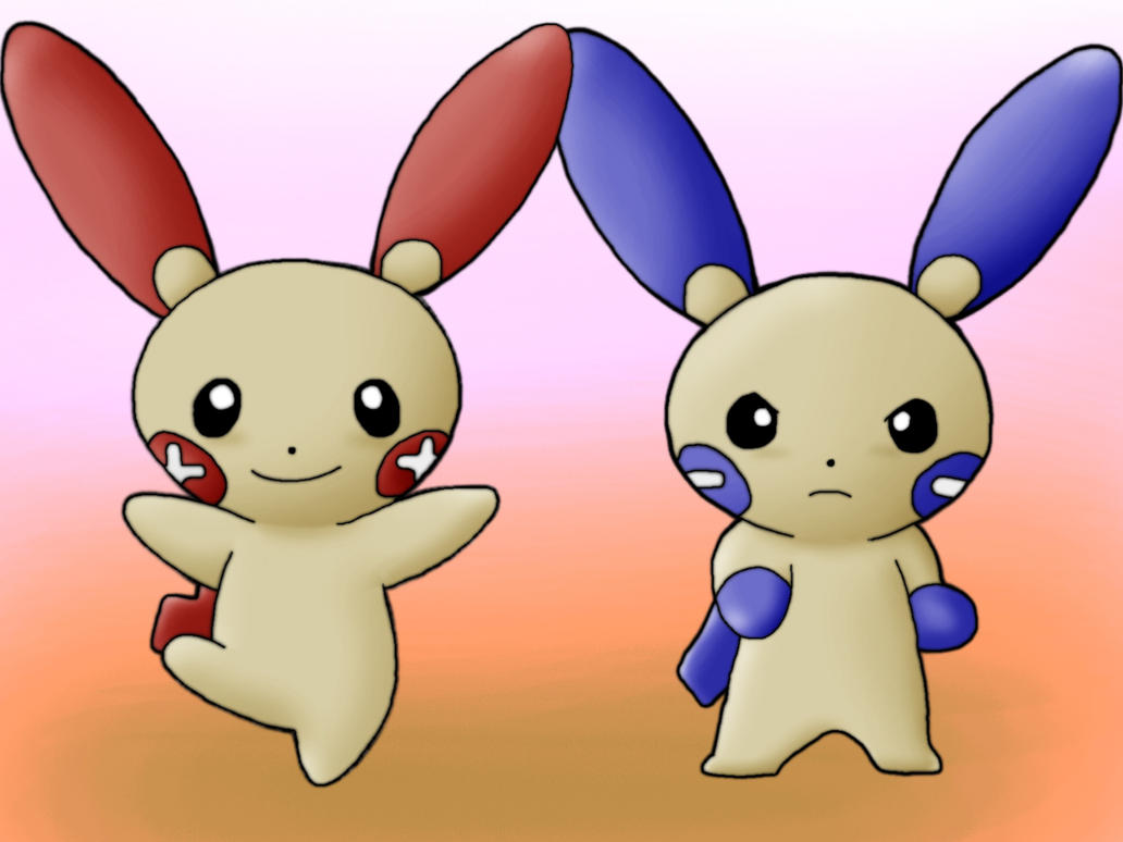 Plusle and Minun by Kenny21Plusle And Minun