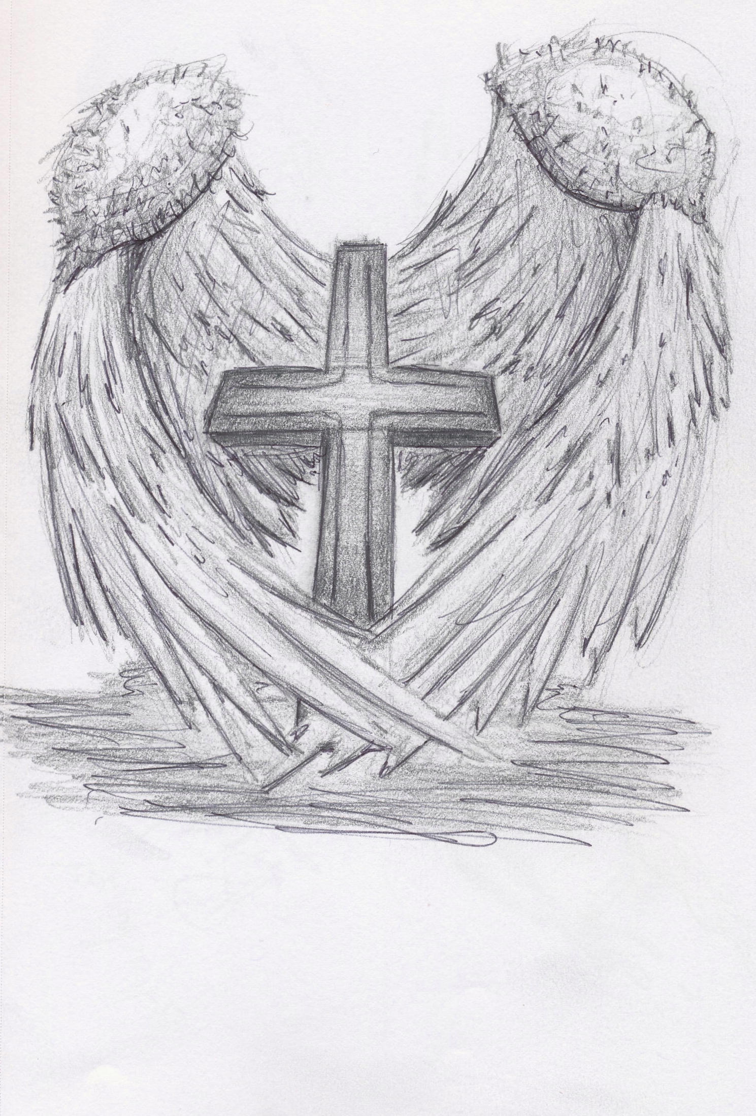 This is a picture of Dynamic Cross With Wings Drawing