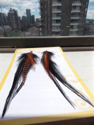 Long Orange Gypsy Earrings