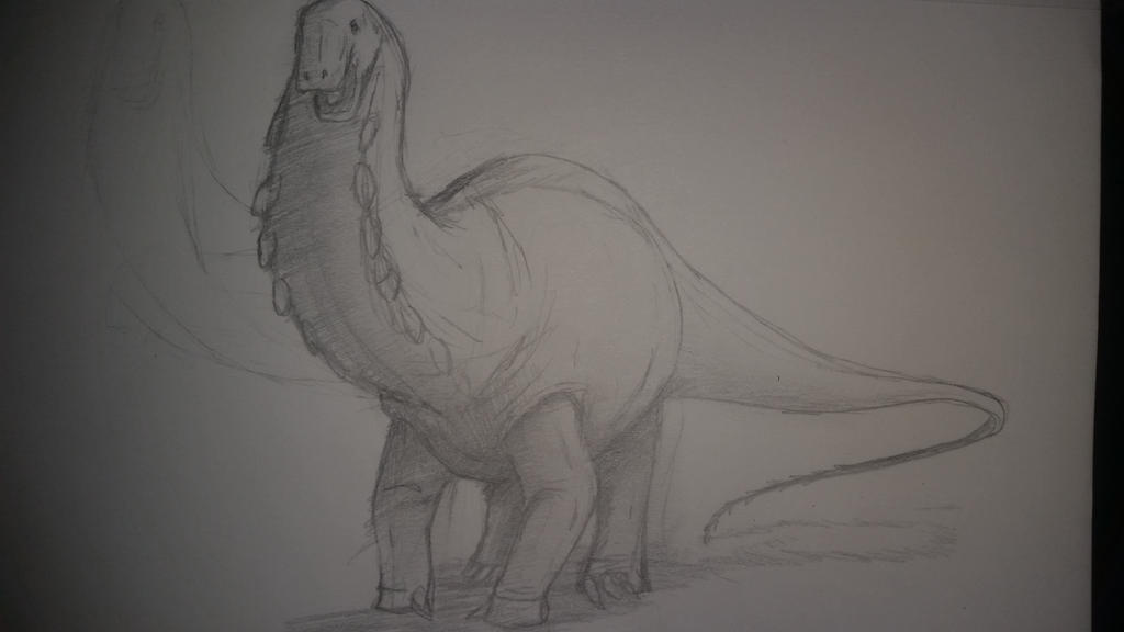 apatosaurus perspective sketch by SpinoSushi