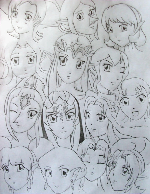 Line Art Zelda : Zelda girls line art by azureshinobi on deviantart
