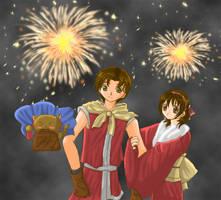 Riou+Nanami- SuikoII- New Year by Rhinea