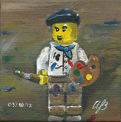 LEGO Artist on a Wooden Palette by AmandaBates