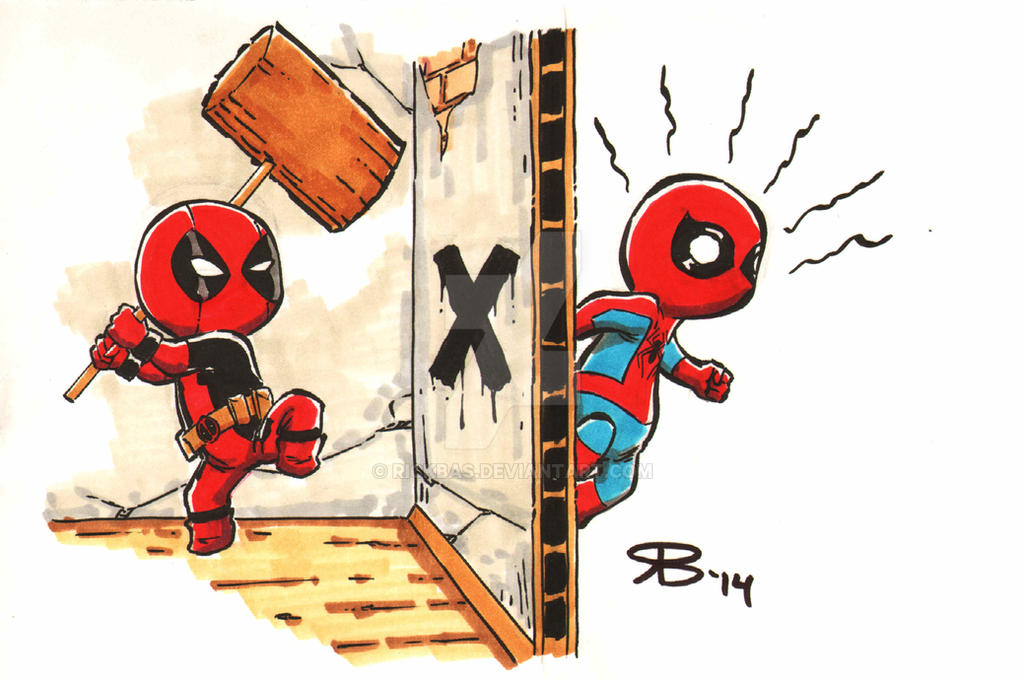 Chibi DeadPool Spiderman By RickBas