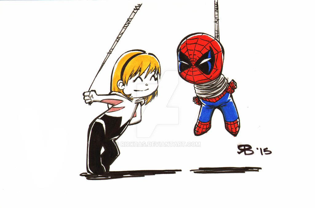 Chibi Gwen and Spiderman by RickBas