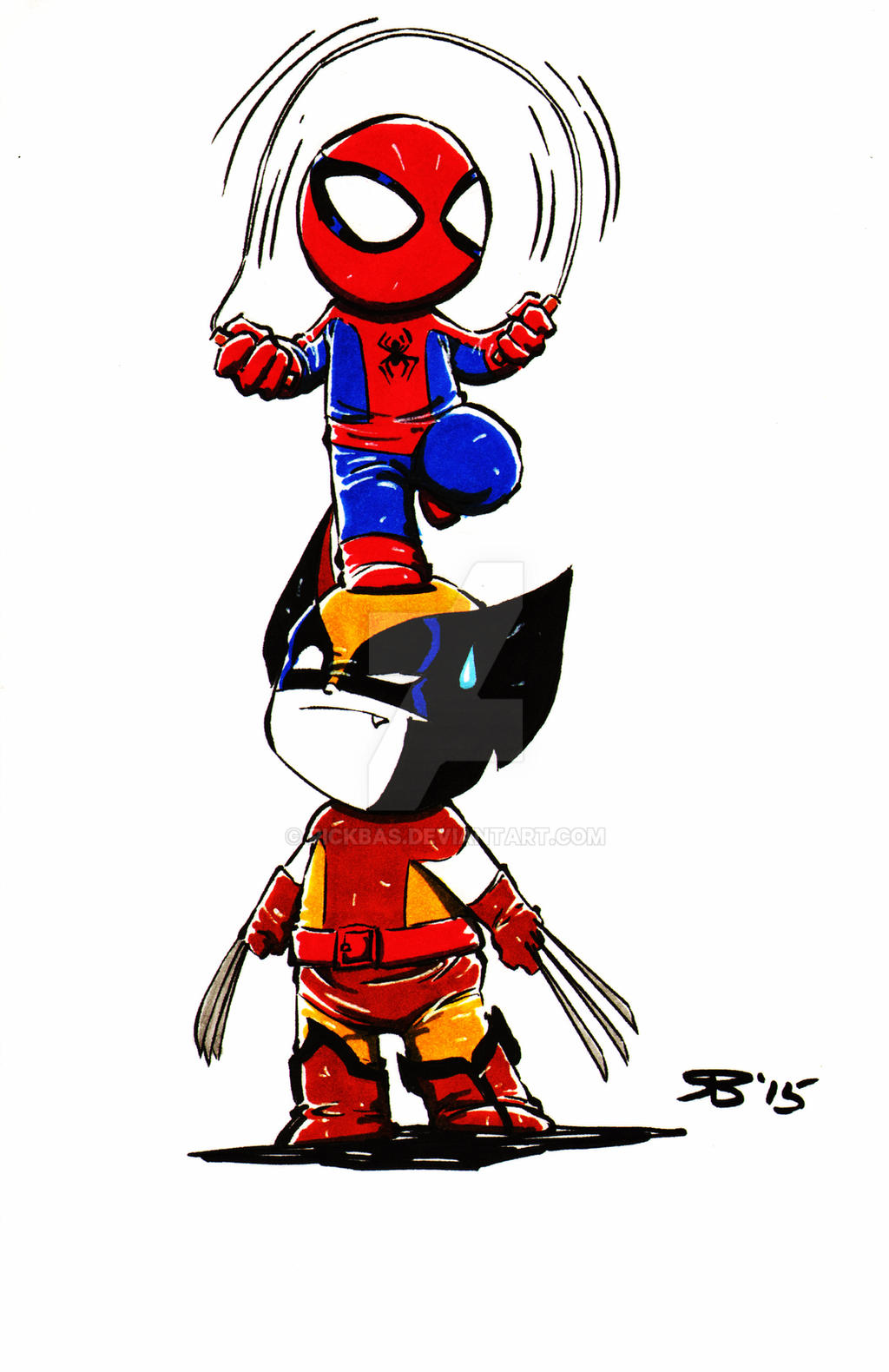 Chibi Spiderman Wolverine by RickBas on DeviantArt