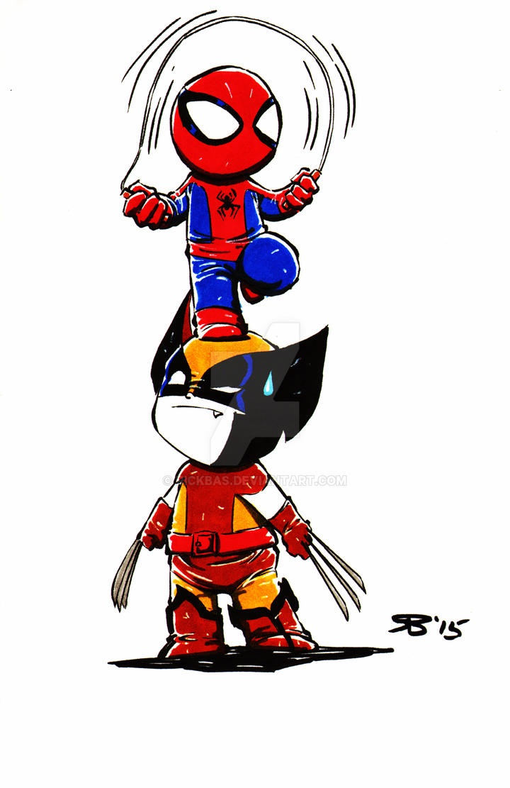 Chibi Spiderman Wolverine by RickBas