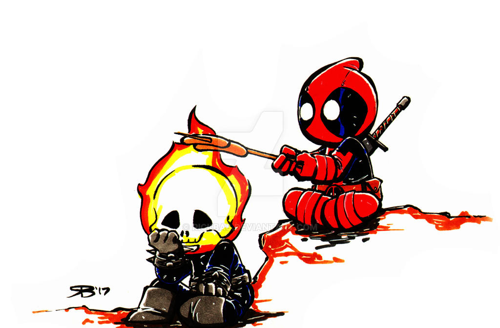 Chibi DeadPool and GhostRider by RickBas on DeviantArt