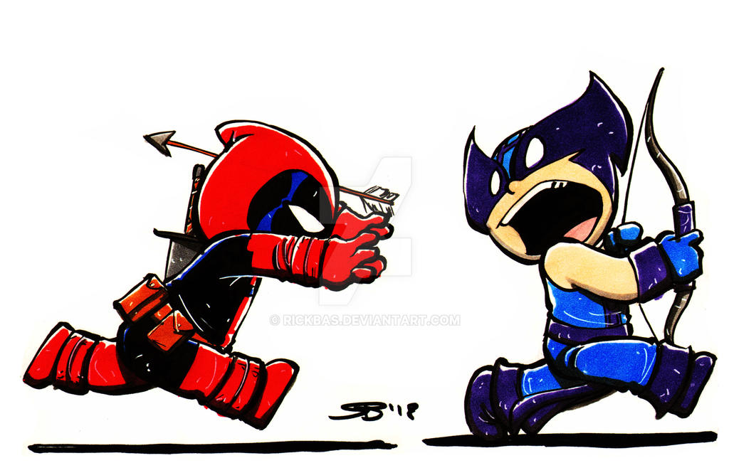 Chibi DeadPool and HawkEye by RickBas