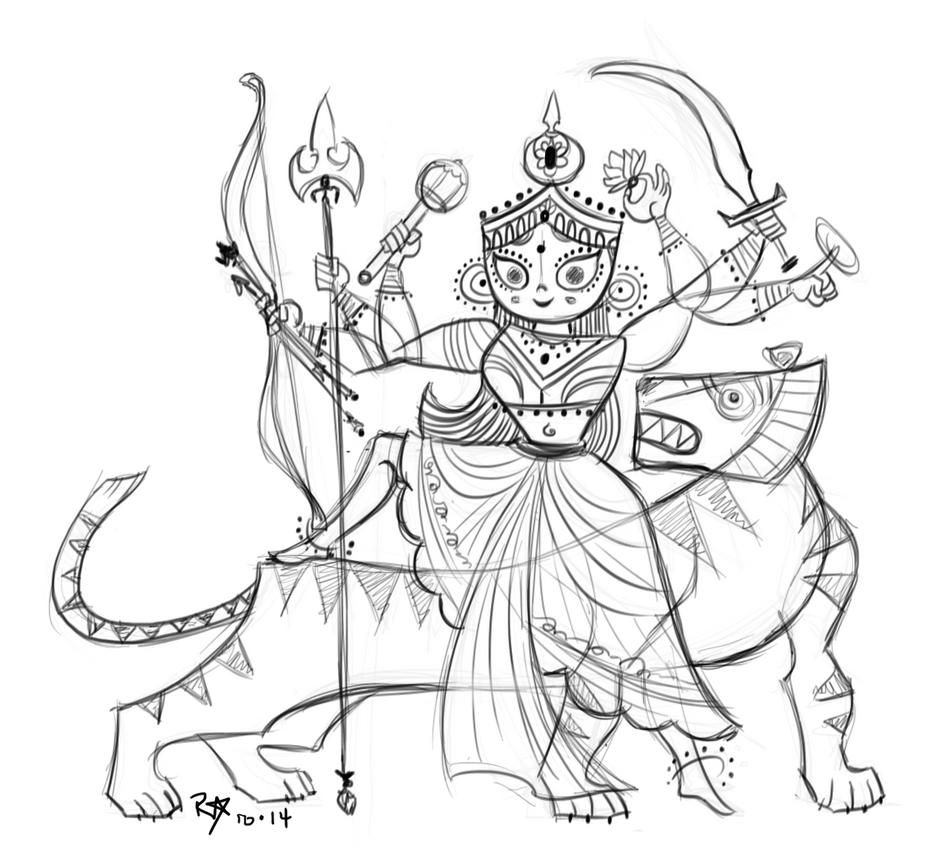 Durga Sketch By MomoHime64 On DeviantArt