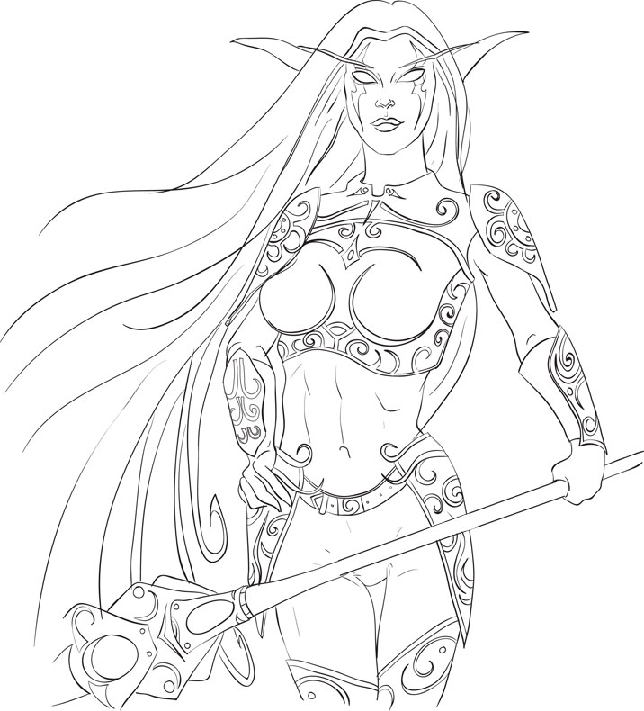 world of warcraft night elf. Wow Night Elf Line Art by