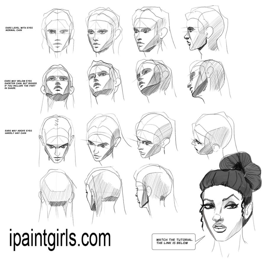 how to draw a face from different angles