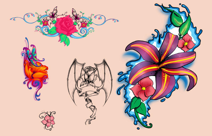 flash flower tattoo designs by discipleneil777 on deviantart. Black Bedroom Furniture Sets. Home Design Ideas