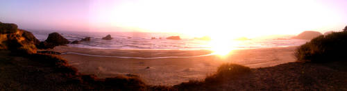 Panarama of Seal Rock, ocean sunset by discipleneil777