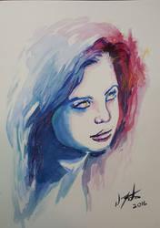 Watercolors female face 9x12