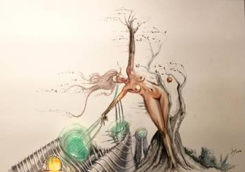 Techno Struggle, nude, watercolor, Surreal Figure by discipleneil777