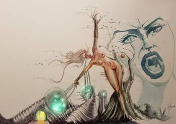 Watercolor Female Surrealism by discipleneil777