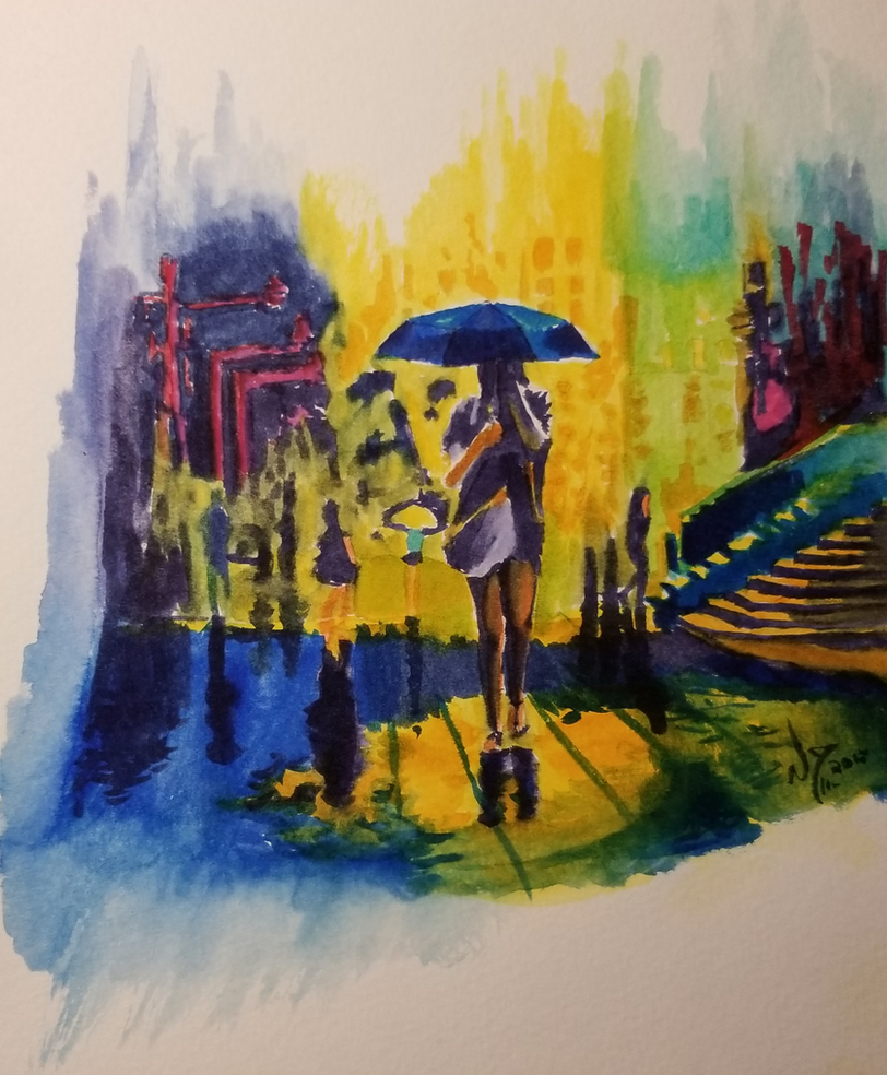 Watercolor Crying City by discipleneil777