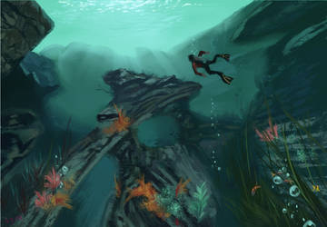 Uncharted painting Bob Ross style underwater